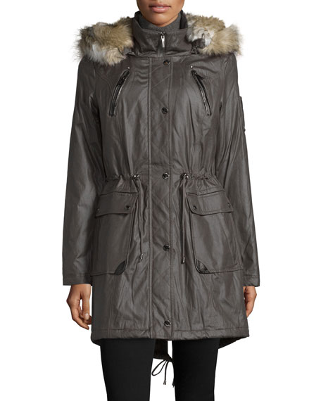 Laundry by Shelli Segal Fur-Trim Drawstring-Waist Coat,