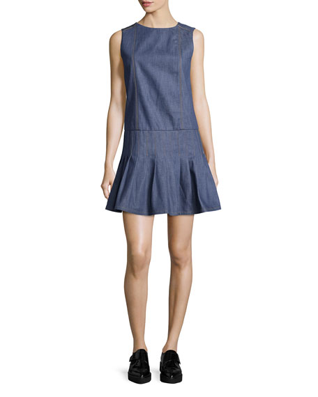 SunoPleated Chambray Fit-and-Flare Dress, Denim