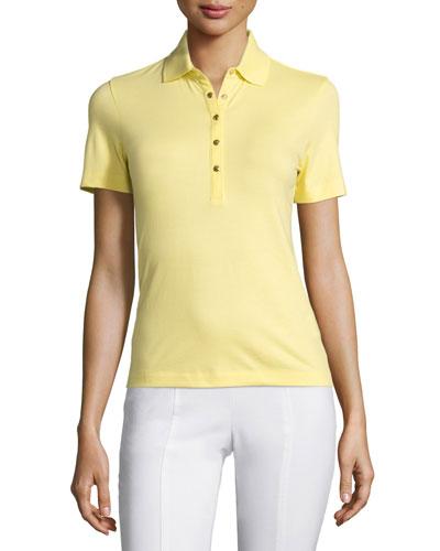 Renna Short-Sleeve Polo Shirt, Lemon Curd