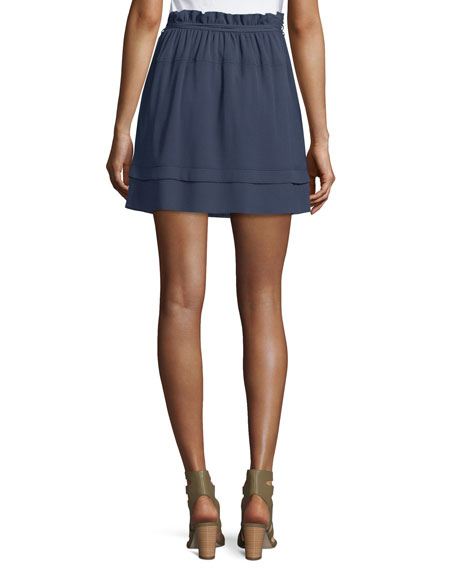 Ruffled Chiffon Tie-Waist Skirt, Navy