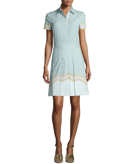 Tory Burch Emmy Short-Sleeve Pleated Shirtdress, Shore Samo