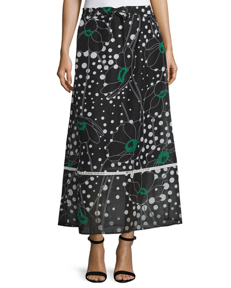 See by Chloe Floral-Print A-Line Maxi Skirt, Black/Multi