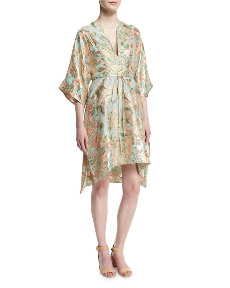 Tory Burch McKenna Floral-Print Belted Dress
