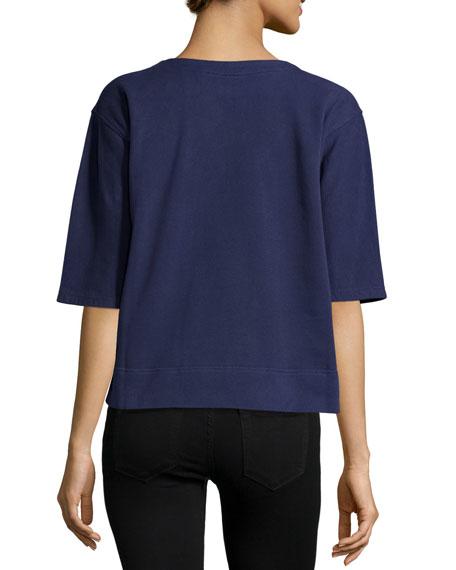 Half-Sleeve Graphic-Print Sweatshirt, Navy