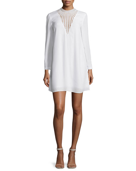 A.L.C. Allie Long-Sleeve Crepe Shift Dress, White