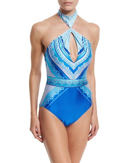 Gottex Blue Jasmine Printed Halter One-Piece Swimsuit