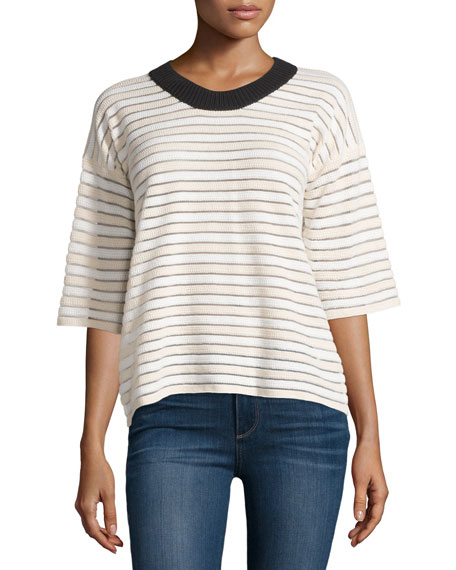 See by Chloe Half-Sleeve Two-Tone Striped Sweater, Blush/White