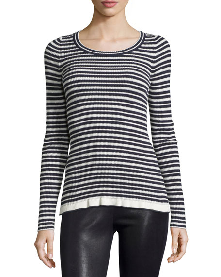 See by Chloe Long-Sleeve Striped Sweater, Navy/White