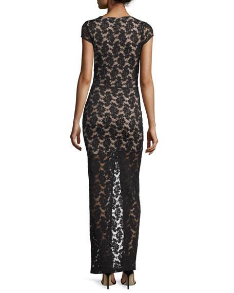Cap-Sleeve Lace Maxi Dress, Black