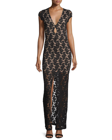 Nightcap Clothing Cap-Sleeve Lace Maxi Dress, Black