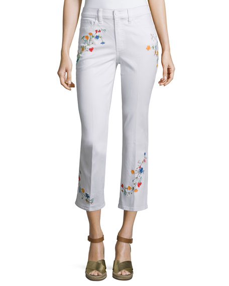 Tory Burch Carson Floral-Embroidered Cropped Jeans