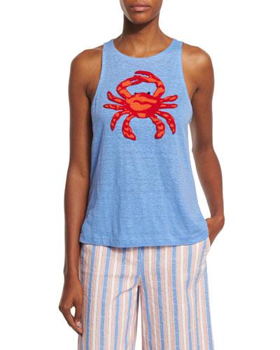 Crab Embellished Round-Neck Tank, Blue Dusk