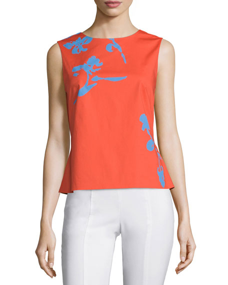 Tory Burch Blaine Tie-Back Printed Shell