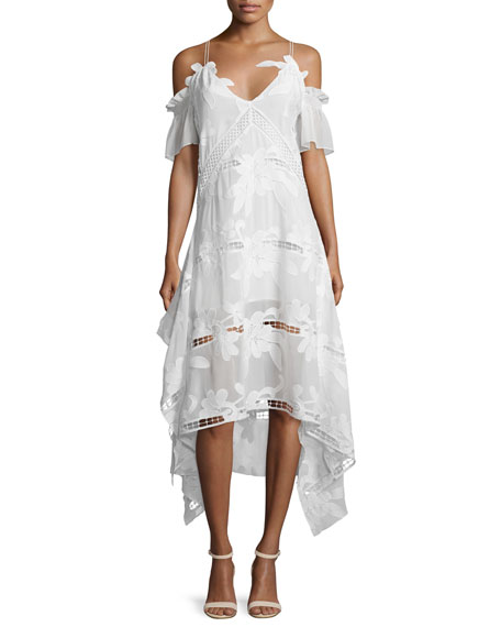 Self-Portrait Embroidered Off-the-Shoulder Midi Dress, White