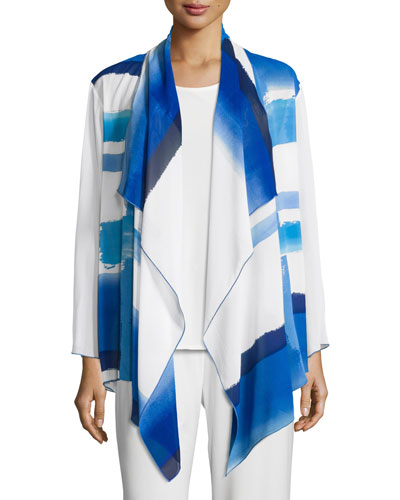 Brushstroke Blues Waterfall Jacket, Blue/White