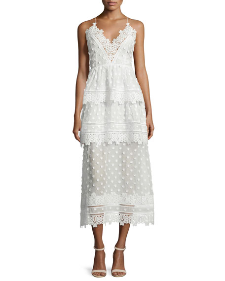 Self Portrait Ivy Lace-Trim Open-Back Midi Dress, White