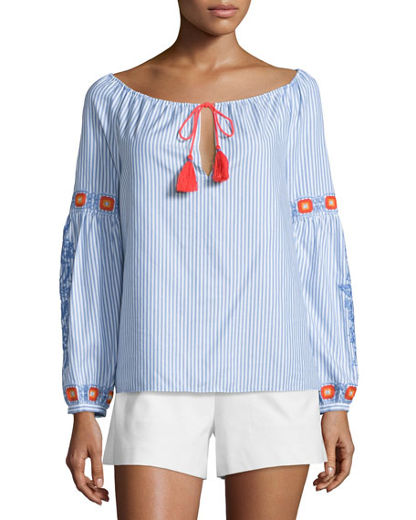 Tory Burch Madison Embellished Peasant Top, Blue Dusk/White