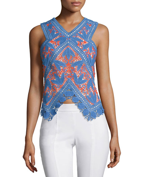 Tory Burch Evie Lace Crochet Top, Hudson Blue/Poppy Red