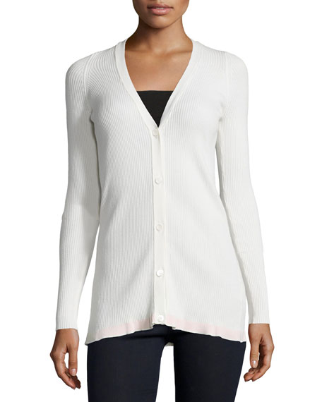 See by Chloe V-Neck Button-Front Cardigan, Ivory