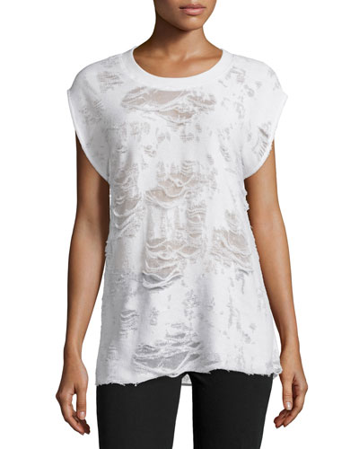 Berrie Distressed Cap-Sleeve Tee, Ecru