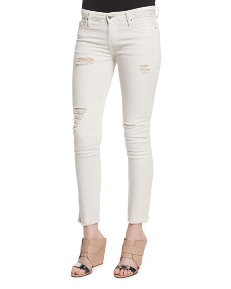 IRO Jarod Distressed Cropped Skinny Jeans, Chalk