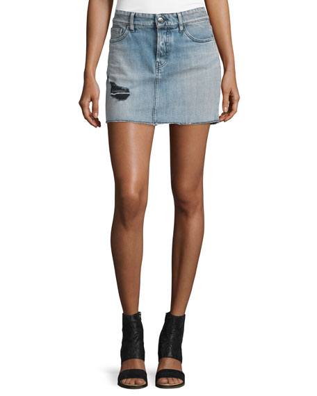 Iro Chicago Stretch Denim Mini Skirt, Light Blue