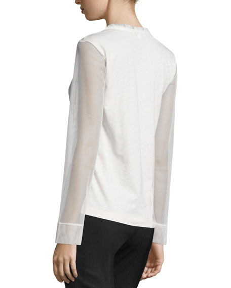 Sheer-Sleeve V-Neck Top, Ivory