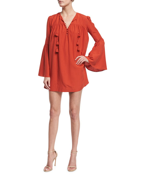 Rachel ZoeHelen Bell-Sleeve Mini Dress, Spice