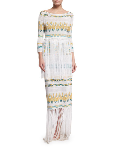 Rachel Zoe Francesca Fringe-Trim Midi Dress, White/Turquoise