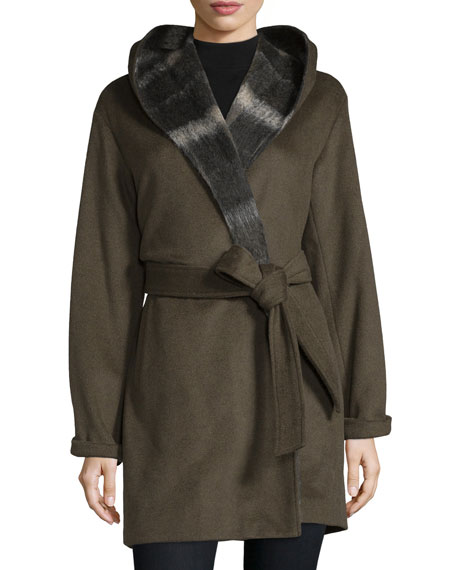 Vera Wang Hooded Long-Sleeve Coat W/Self Belt, Sage