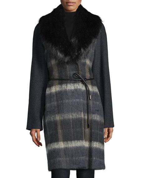 Vera Wang Faux-Fur Collar Belted Coat, Deep Charcoal