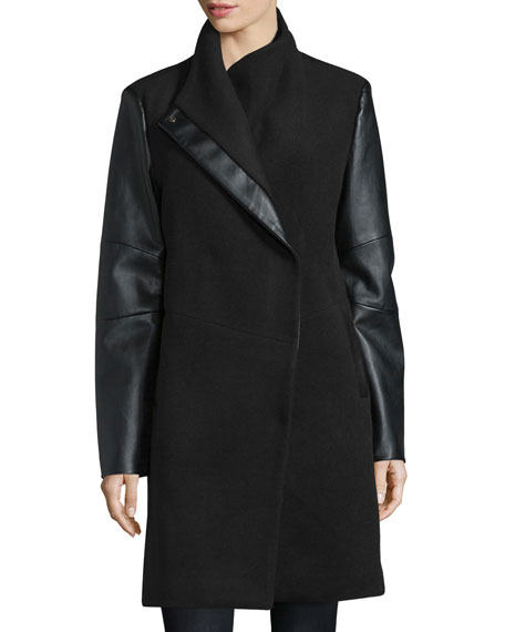 Vera Wang Wool Coat with Faux-Leather Detail
