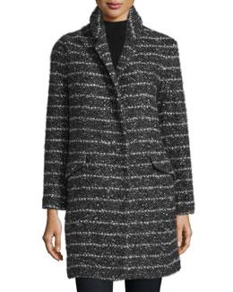 Stand-Collar Striped Coat, Black/White Combo