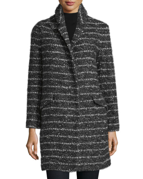 Vera Wang Stand-Collar Striped Coat, Black/White Combo