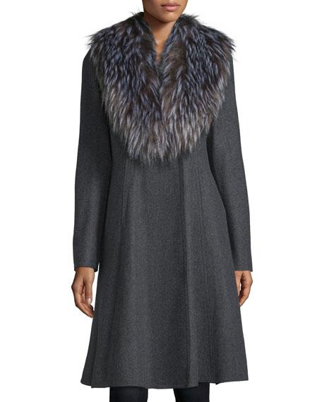 Vera Wang Faux-Fur-Collar A-Line Coat, Charcoal