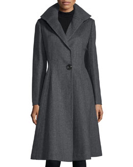 One-Button A-Line Coat, Deep Charcoal