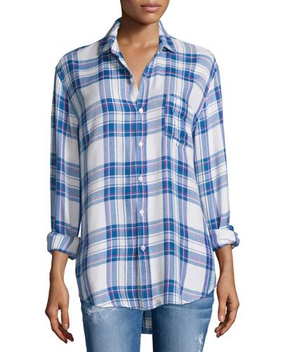 Hunter Plaid Long-Sleeve Shirt, White/Blue/Raspberry