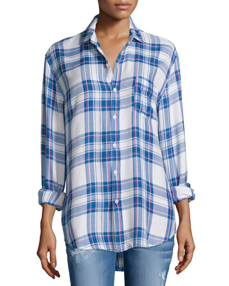 Rails Hunter Plaid Long-Sleeve Shirt, White/Blue/Raspberry