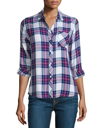 Hunter Plaid Long-Sleeve Shirt, White/Navy/Magenta