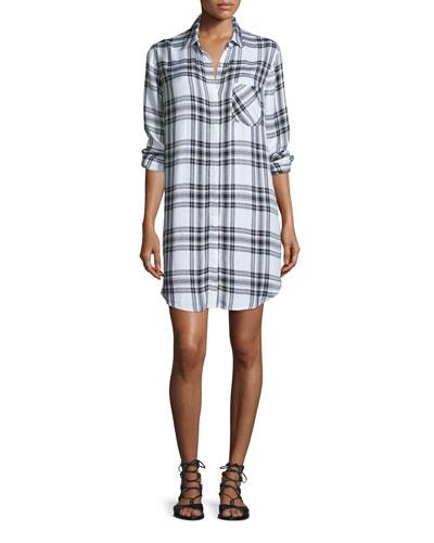Sawyer Plaid Long-Sleeve Shirtdress, Ebony/White