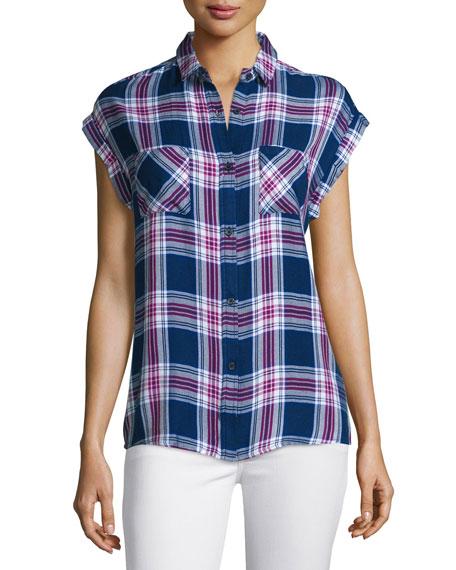 Rails Britt Plaid Short-Sleeve Shirt, Navy/Magenta/White