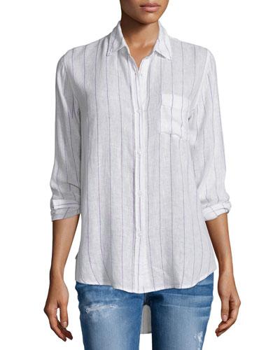Charli Skinny-Striped Long-Sleeve Shirt, White/Berry
