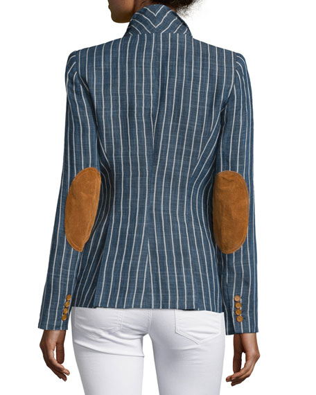Skinny-Striped One-Button Blazer, Indigo Stripe