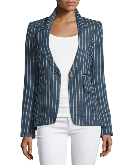 Smythe Skinny-Striped One-Button Blazer, Indigo Stripe
