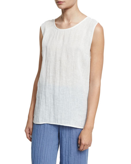 Caroline Rose Long Crinkled Linen Tank, White