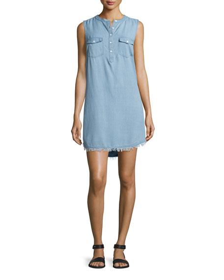 Splendid Indigo Crosshatch Sleeveless Shirtdress, Light Wash