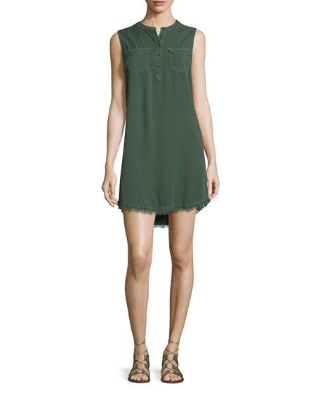 Splendid Indigo Crosshatch Sleeveless Shirtdress, Military