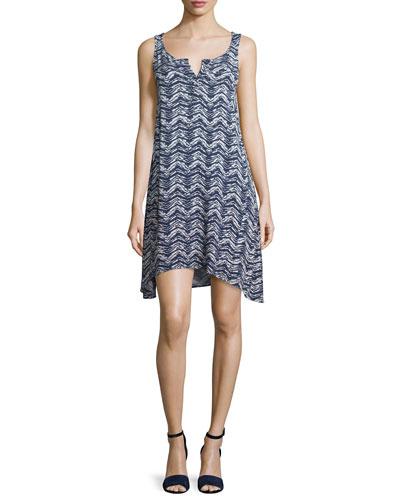 Sleeveless Ombre-Zigzag Dress, Navy/Petal Pink