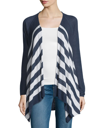 Parasol Open-Front Striped Sweater, Navy/Natural