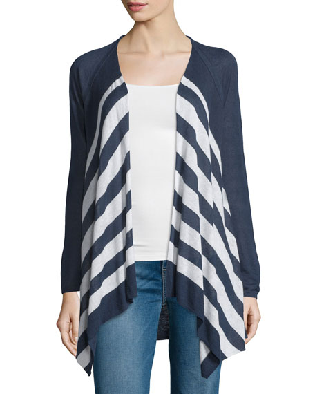 Splendid Parasol Open-Front Striped Sweater, Navy/Natural